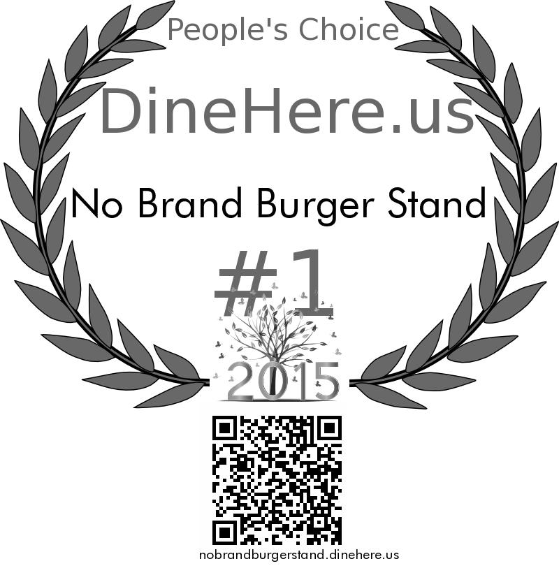 No Brand Burger Stand DineHere.us 2015 Award Winner
