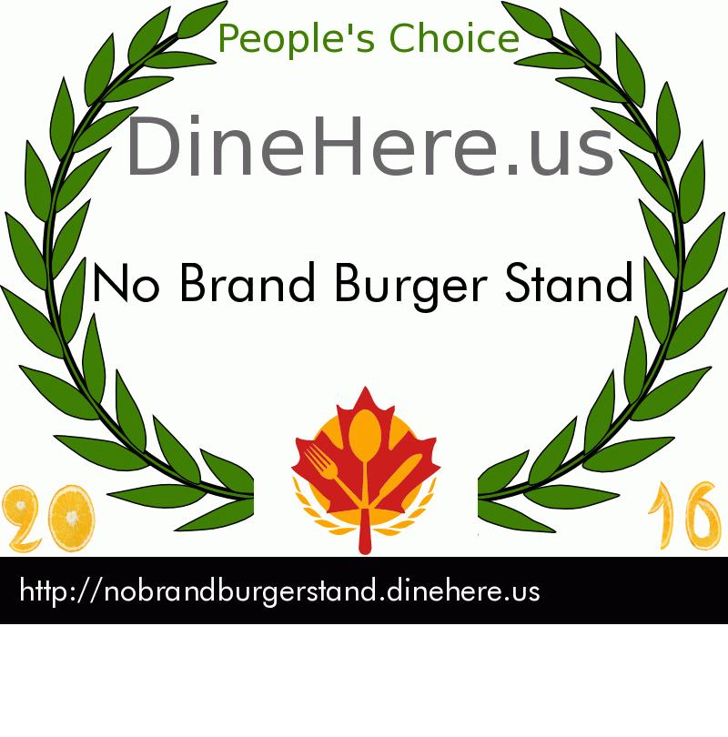 No Brand Burger Stand DineHere.us 2016 Award Winner